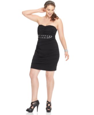 Ruby Rox Plus Size Dress, Strapless Ruched Bandage Empire