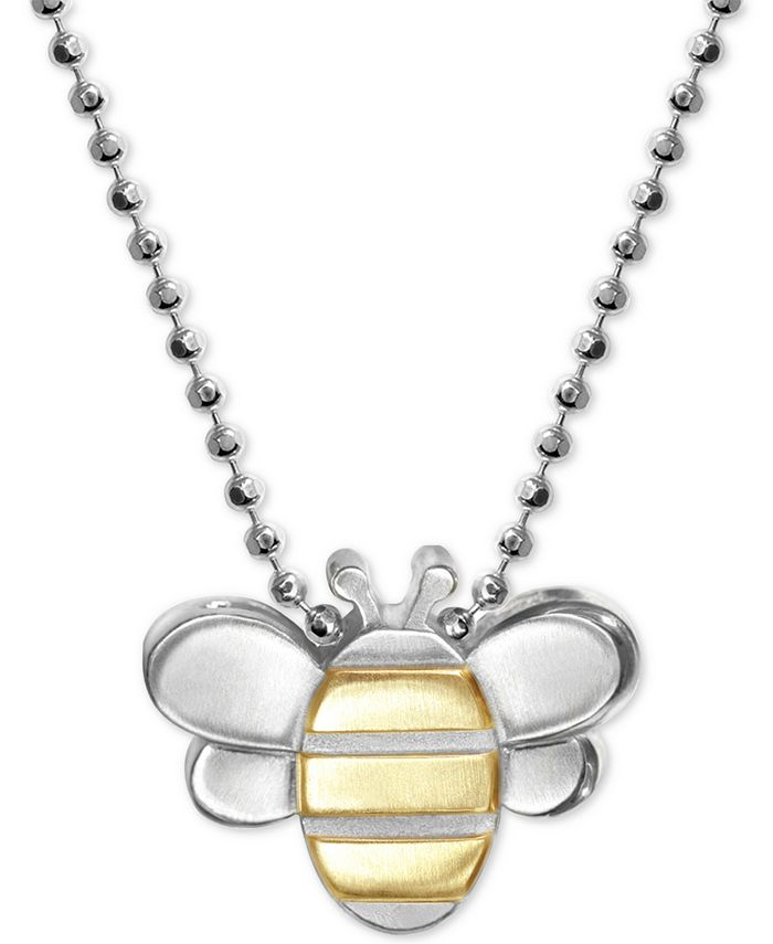 """Alex Woo - Bumble Bee 16"""" Pendant Necklace in Sterling Silver & 18k Gold"""