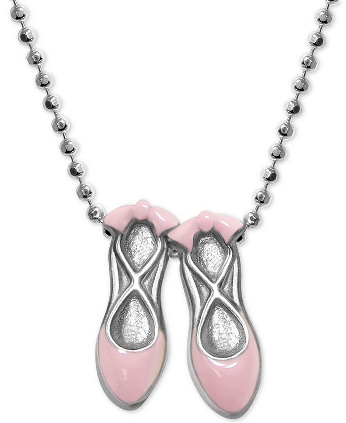 """Alex Woo - Pink Enamel Ballet Slipper 16"""" Pendant Necklace in Sterling Silver"""