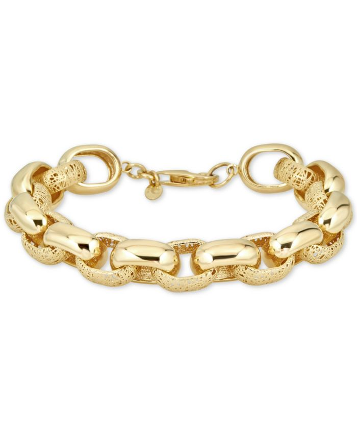 Italian Gold Filigree & Polished Link Bracelet in 14k Gold-Plated Sterling Silver & Reviews - Bracelets - Jewelry & Watches - Macy's