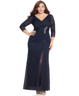 Adrianna Papell Plus Size Dress, Three Quarter Sleeve V-Neck Ruched Evening Gown