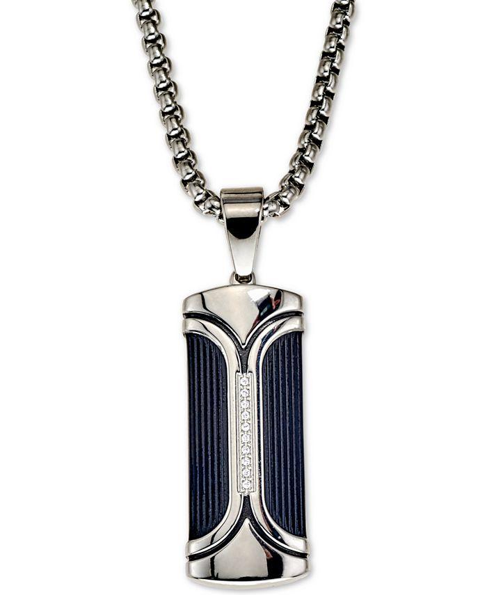 "Esquire Men's Jewelry - Jewelry Diamond Accent Dog Tag 22"" Pendant Necklace"