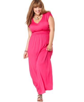 Soprano Plus Size Dress, Short Sleeve Ruched Empire Maxi