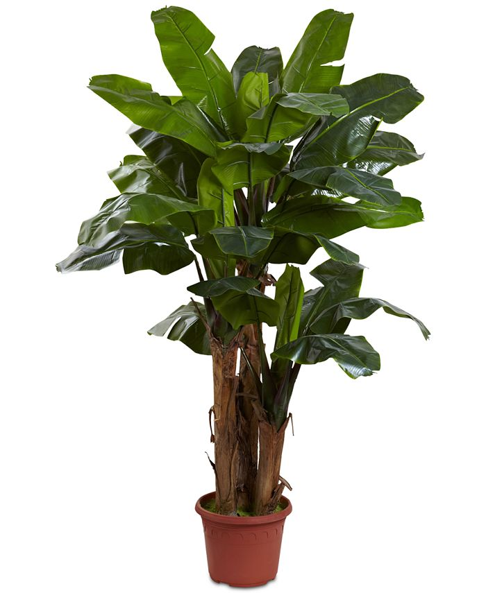 Nearly Natural - 7' Indoor/Outdoor UV-Resistant Giant Triple-Stalk Artificial Banana Tree
