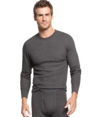 Alfani Men's Underwear, Waffle Knit Thermal Long Sleeve T Shirt ...