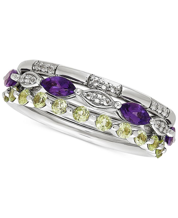Macy's - 3-Pc. Set Multi-Gemstone Stacking Rings (1-1/10 ct. t.w.) in Sterling Silver