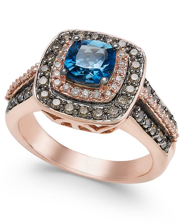 Le Vian Chocolatier London Blue Topaz (1 ct. t.w.) and Diamond (3/4 ct. t.w.) Ring in 14k Rose Gold