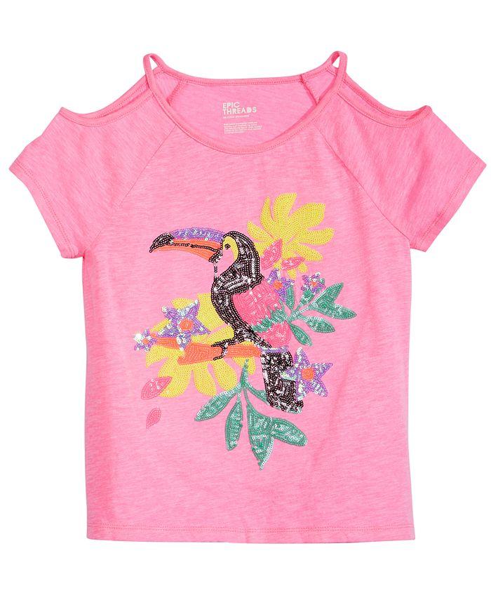 Epic Threads - Big Girls Cold Shoulder Parrot T-Shirt
