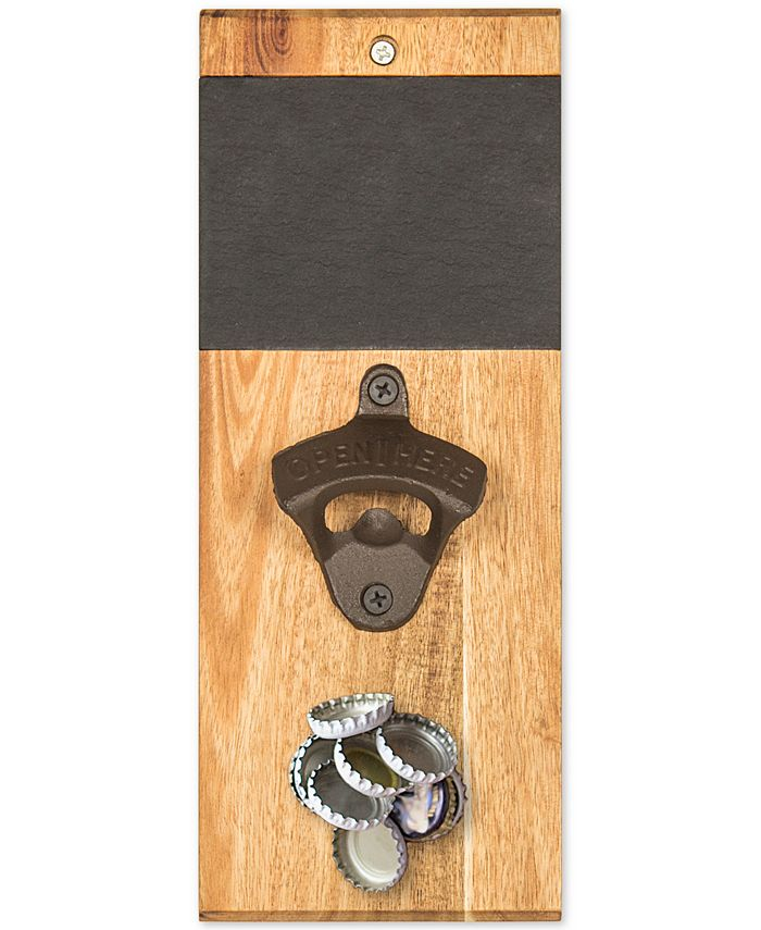 Cathy's Concepts - Personalized Slate & Acacia Wall Mount Bottle Opener with Magnetic Cap Catcher