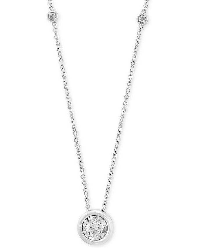 """EFFY Collection - Diamond Bezel 18"""" Pendant Necklace (1/2 ct. t.w.) in 14k White, Yellow or Rose Gold"""