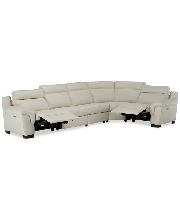 Furniture Julius II 5-Pc. Leather Sectional Sofa With 2 Power Recliners, Power Headrests & USB Power Outlet, Created for Macy's