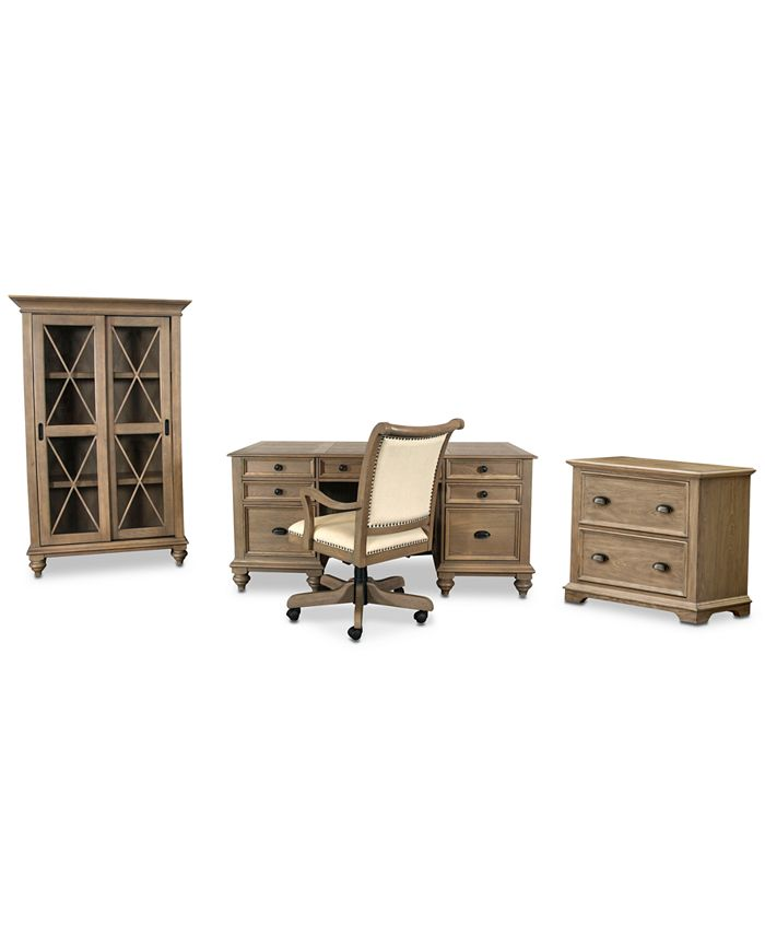 Furniture - Brompton Home Office, 4-Pc.  Set (Executive Desk, Upholstered Desk Chair, File Cabinet, & Bookcase)