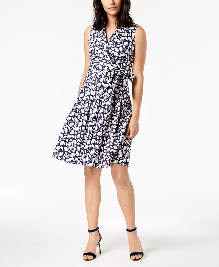 Anne Klein - Flowerfall Printed Faux-Wrap Dress