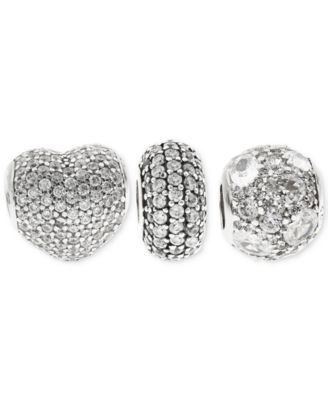 3-Pc. Set Pavé Bead Charms in Sterling Silver