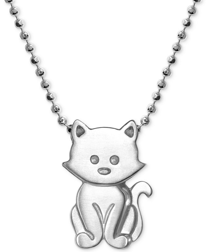 "Alex Woo - Kitten 16"" Pendant Necklace in Sterling Silver"