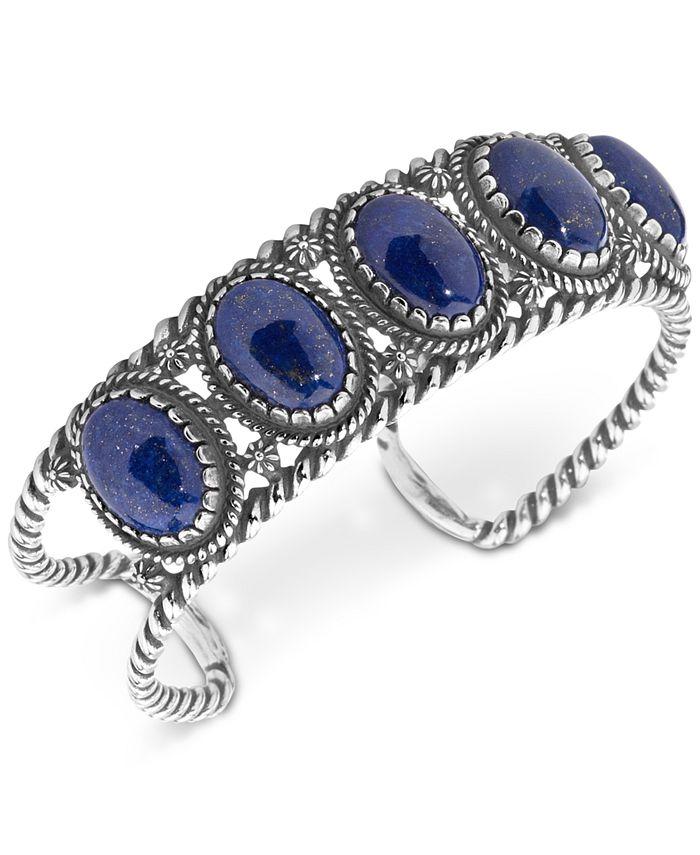 American West - Lapis Lazuli Decorative Cuff Bracelet in Sterling Silver