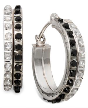 14k White Gold Earrings, Black and White Diamond Accent Round Hoop Earrings