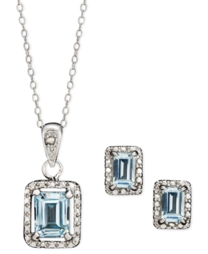 Victoria Townsend Sterling Silver Jewelry Set, Blue Topaz (3-5/8 ct. t.w.) and Diamond Accent Emerald Cut Pendant and Earrings Set