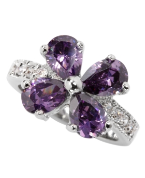 City by City Ring, Silver Tone Purple Cubic Zirconia Flower Ring (8-3/8 ct. t.w.)