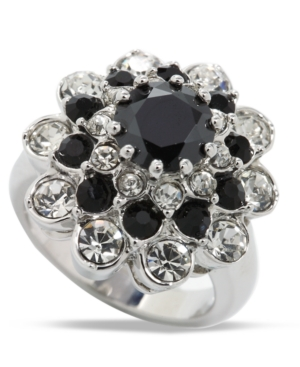 City by City Ring, Clear and Jet Crystal Cluster Flower Ring