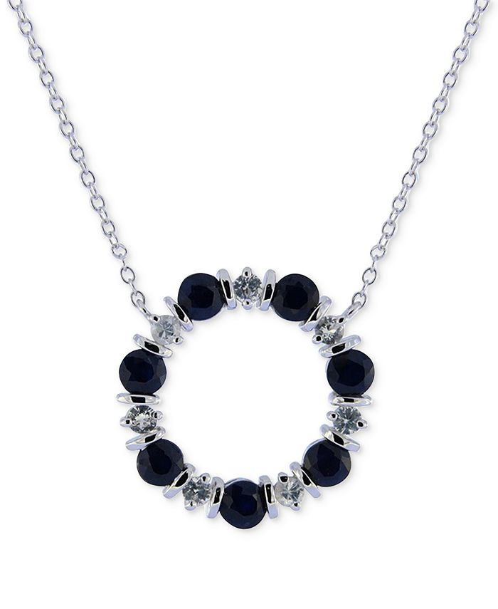 """Macy's - Blue Sapphire (2 ct. t.w.) & White Sapphire (3/4 ct. t.w.) 16"""" Pendant Necklace in Sterling Silver"""