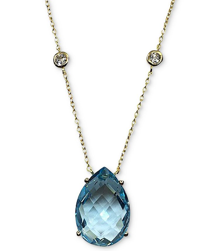 """Macy's - Blue Topaz (13 ct. t.w.) & White Topaz (5/8 ct. t.w.) Pendant Necklace in 14k Gold-Plated Sterling Silver, 16"""" + 2"""" extender"""