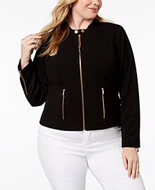 Calvin Klein Plus Size Lux Stretch Zip-Front Jacket