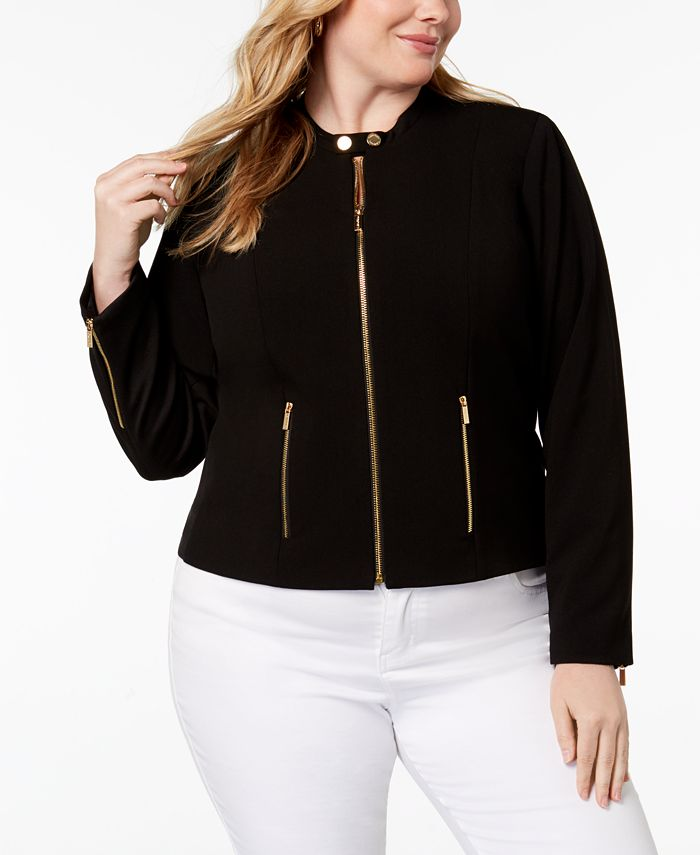 Calvin Klein - Plus Size Lux Stretch Zip-Front Jacket