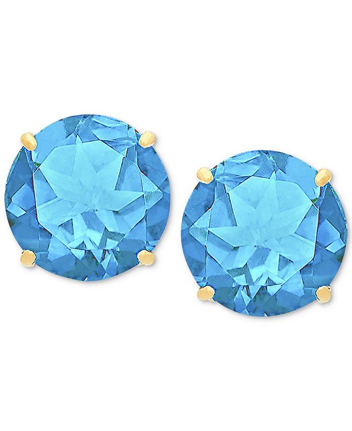 Macy's - Blue Topaz Stud Earrings (6-3/4 ct. t.w.) in 14k Gold