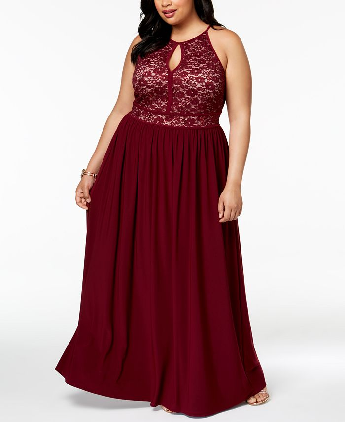 Morgan & Company - Trendy Plus Size Lace-Bodice Gown