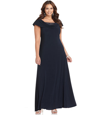 Patra Plus Size Dress Cap Sleeve Beaded Cowl Neck Evening