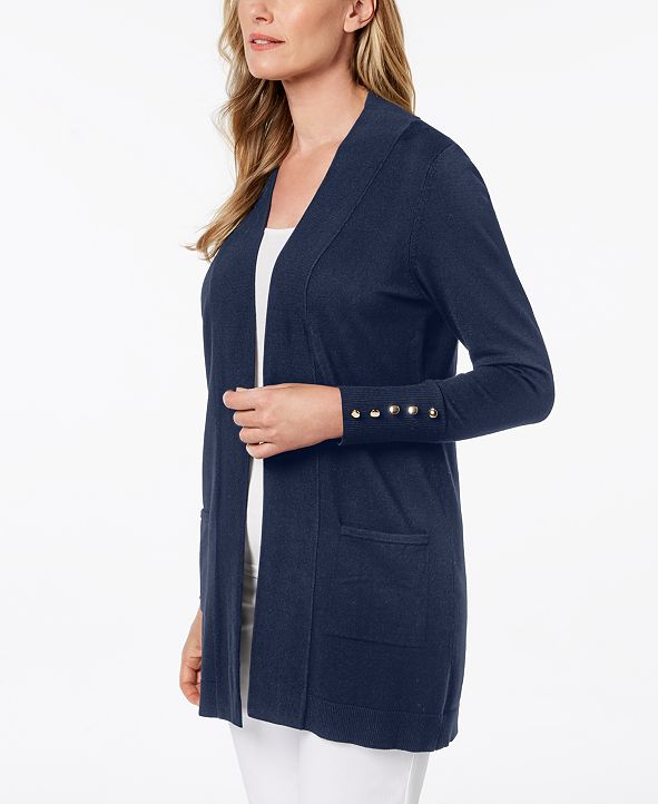 JM Collection Open-Front Toggle-Sleeve Cardigan, Created
