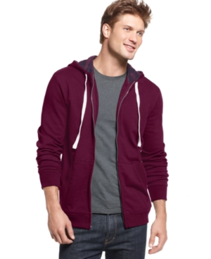 Club Room Sweatshirt, Plaid Lined Hoodie