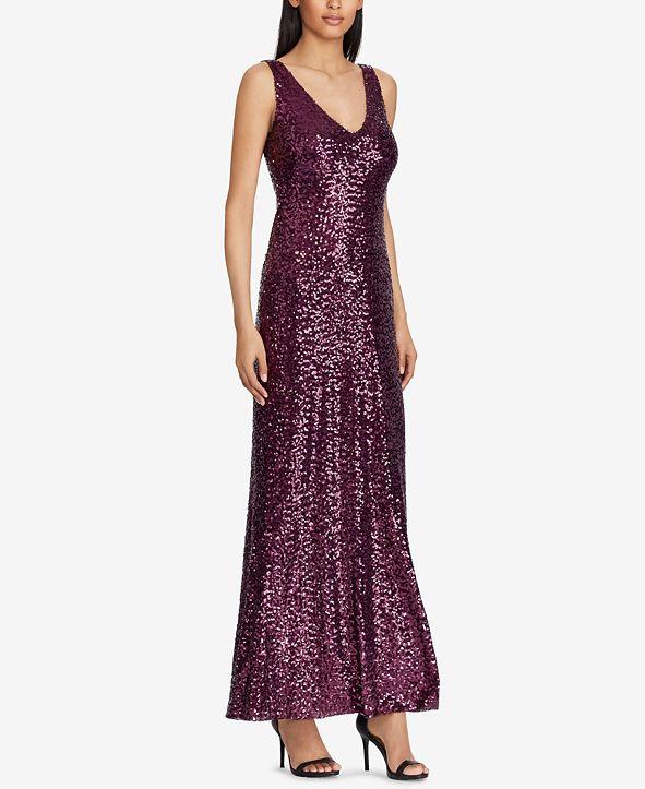Lauren Ralph Lauren Sequined V-Neck Gown