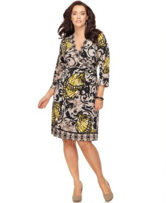 Alfani Plus Size Dress, Three Quarter Sleeve Printed Faux Wrap