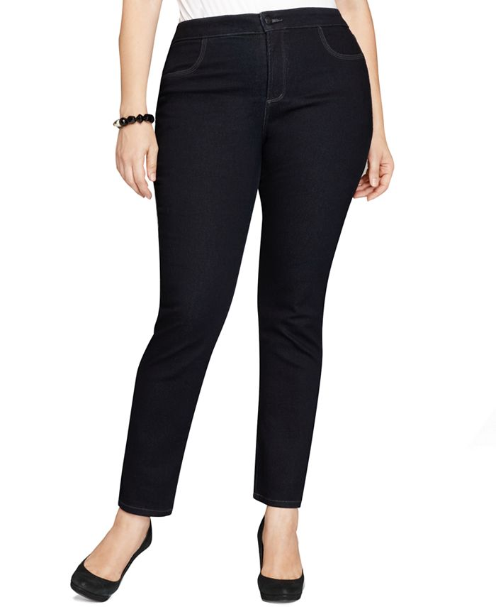 Style & Co - Plus Size Tummy-Control Straight Leg Jeans, Aged Indigo Wash