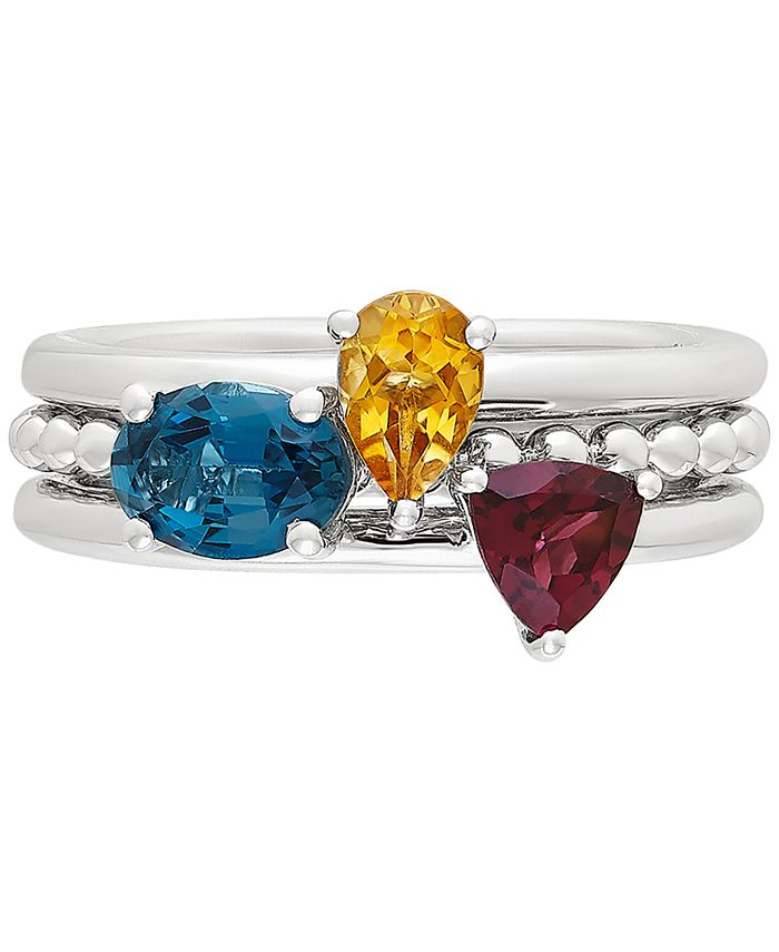 Macy's - 3-Pc. Set Multi-Gemstone Stacking Rings (1-3/4 ct. t.w.) in Sterling Silver