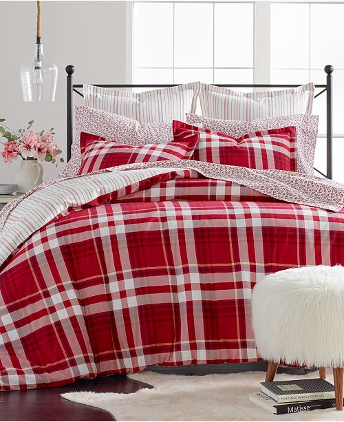 Martha Stewart Collection Closeout Winter Plaid Cotton Flannel Bedding Collection Created For Macy S Reviews Bed In A Bag Bed Bath Macy S