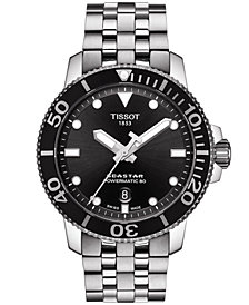 Tissot Men's Swiss Automatic T-Sport Seastar 1000 Gray Stainless Steel Bracelet Diver Watch 43mm