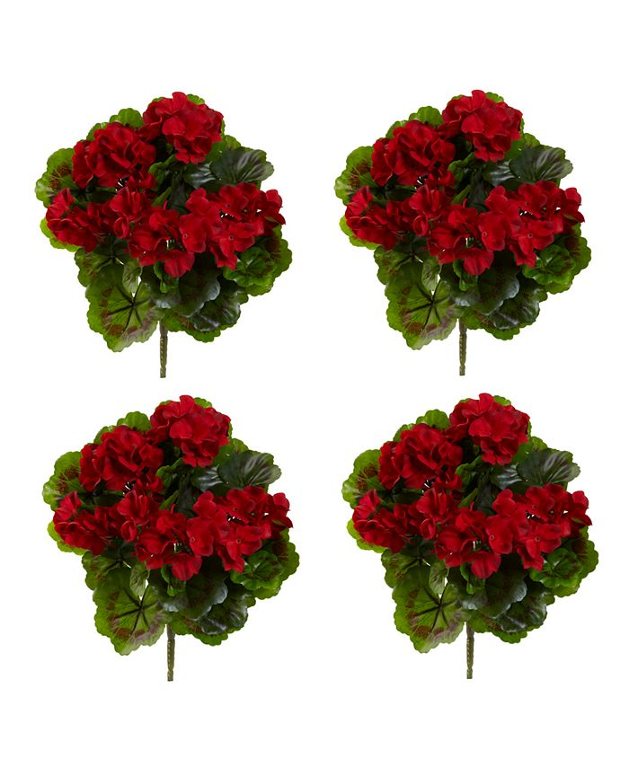 Nearly Natural - 4-Pc. Geranium UV-Resistant Indoor/Outdoor Artificial Bush Set