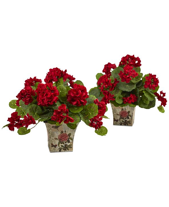 """Nearly Natural 2-Pc. 11"""" Geranium Flowering Artificial Plant Set in Floral Planters"""
