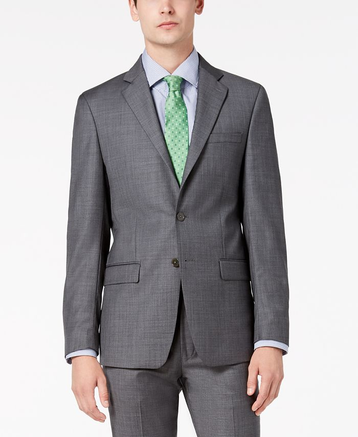Calvin Klein - Men's Slim-Fit Stretch Gray Sharkskin Suit Jacket