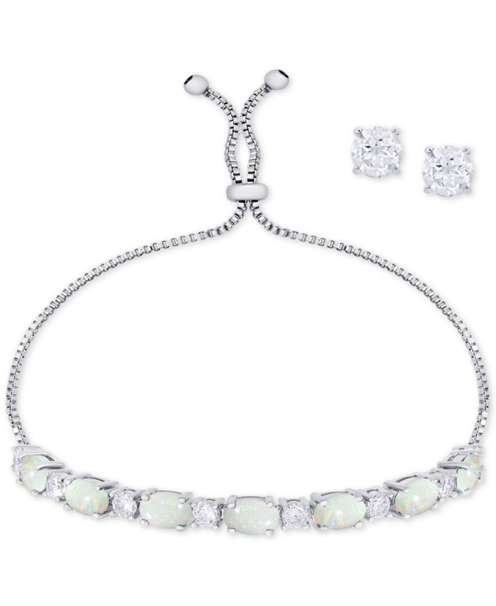 Macy's Simulated Opal Slider Bracelet & Cubic Zirconia Stud Earrings Set In Fine Silver-Plate, October Birthstone & Reviews - Fashion Jewelry - Jewelry & Watches - Macy's