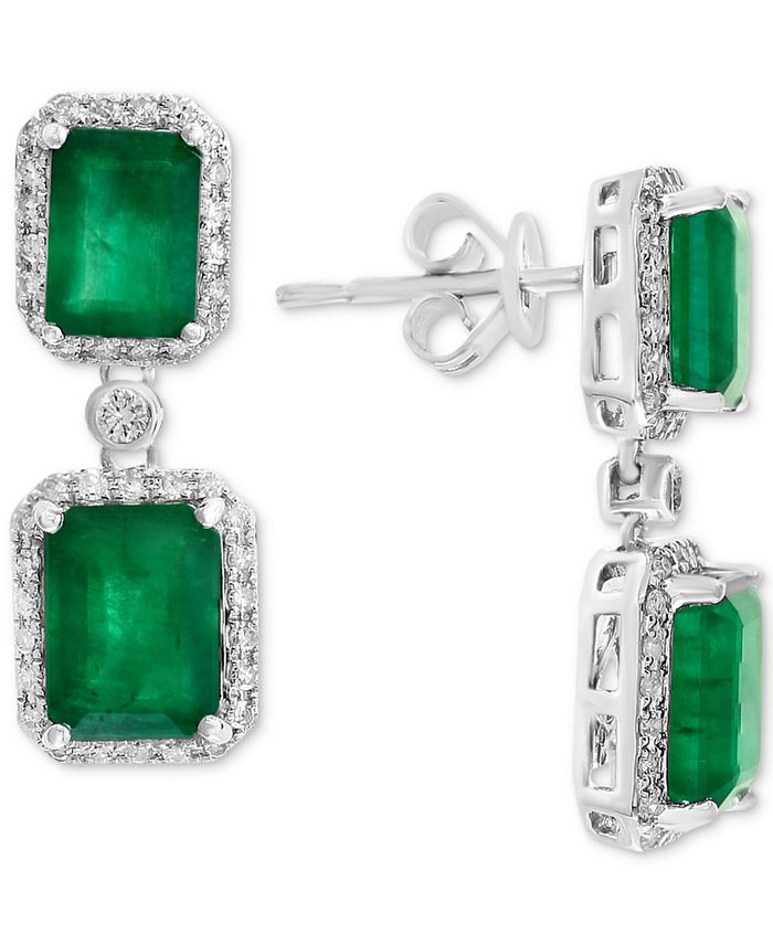 EFFY Collection - Emerald (4-3/4 ct. t.w.) & Diamond (3/8 ct. t.w.) Drop Earrings in 14k White Gold or Yellow Gold