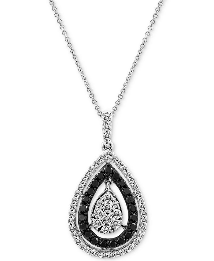 "Le Vian - Diamond Teardrop Cluster 18"" Pendant Necklace (3/4 ct. t.w.) in 14k White Gold"