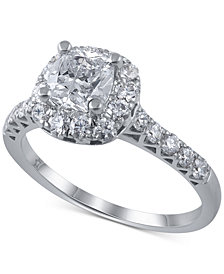 Macy's Star Signature Diamond Cushion Cut Halo Engagement Ring Ring (1-3/4 ct. t.w.) in 14k White Gold