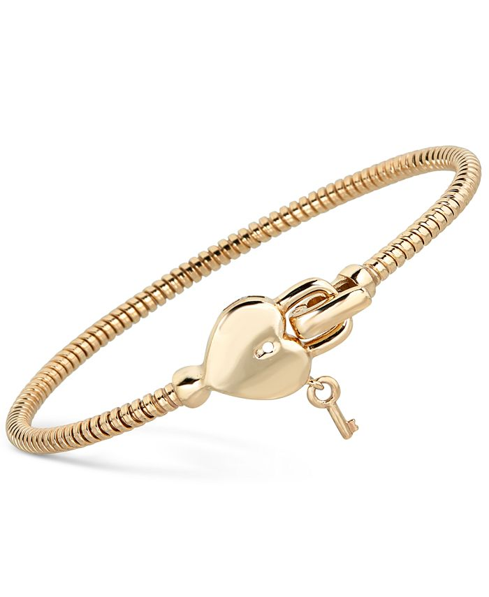 Macy's - Heart & Key Tubogas Bangle Bracelet in 14k Gold-Plated Sterling Silver