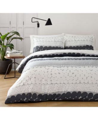Jurmo Dark Shadow Gray Cotton 2-Pc. Twin Duvet Cover Set