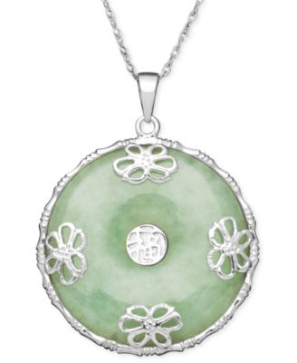 Sterling silver necklace jade circle flower overlay pendant sterling silver necklace jade circle flower overlay pendant mozeypictures Gallery