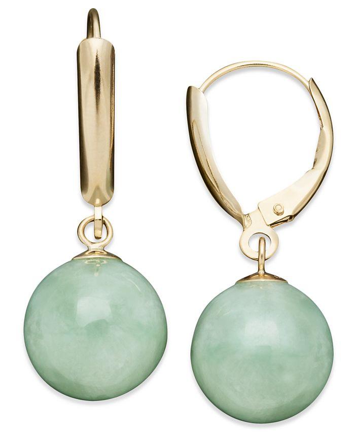 Macy's - 14k Gold Earrings, Jade Bead Drop Earrings